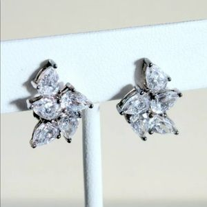 Clip on Cluster CZ Rhinestone diamond Earrings